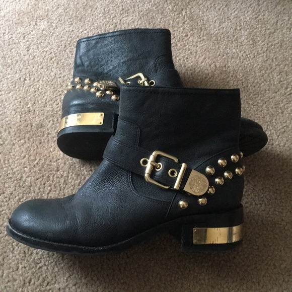 ac84d057210ba VINCE CAMUTO Black & gold studded ankle booties. M_5aa037a83316272843d1f72c